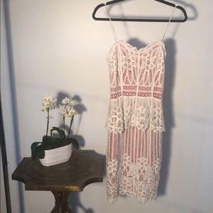 Betsey Johnson Lace Pink & White Brunch Dress